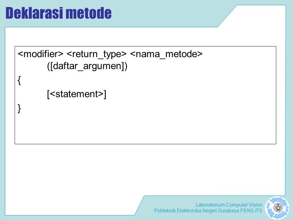 Deklarasi metode <modifier> <return_type> <nama_metode> ([daftar_argumen]) { [<statement>] }